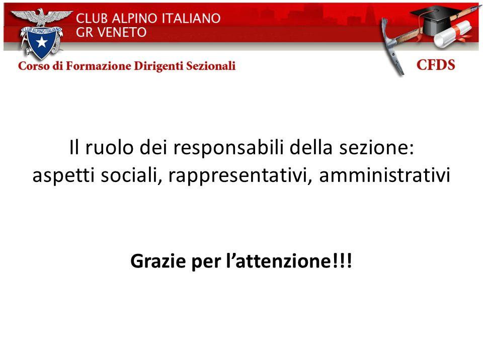 Il ruolo dei responsabili della sezione: aspetti sociali, rappresentativi, amministrativi Grazie per lattenzione!!!