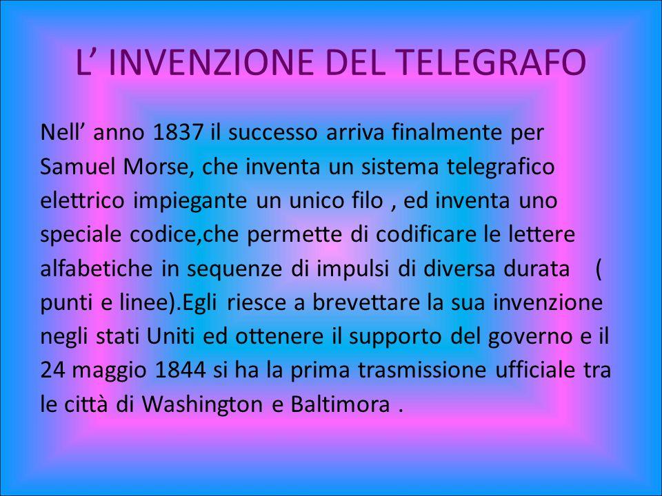 La struttura del telegrafo L apparecchio di Morse,utilizzato nel 1844 per inviare il telegramma pubblico era azionato da un manipolatore elettrico che lasciava passare la corrente quando veniva premuto e la interrompeva al rilascio.