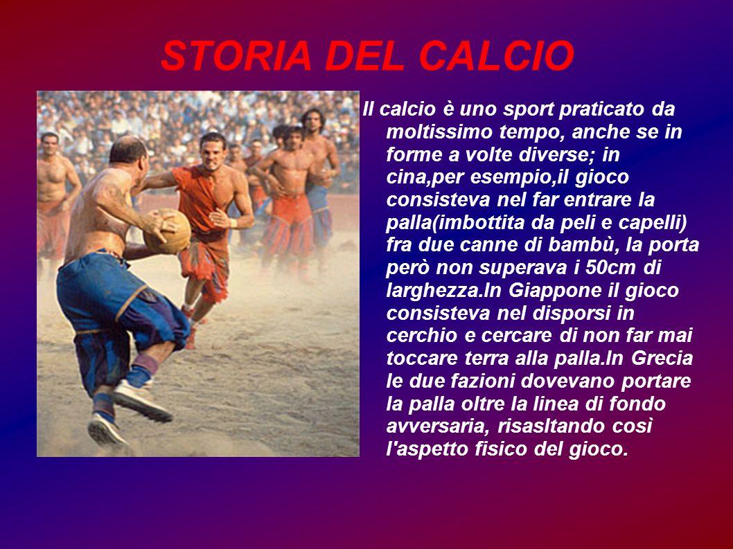 STORIA DEL CALCIO Il calcio è uno sport praticato da moltissimo tempo, anche se in forme a volte diverse; in cina,per esempio,il gioco consisteva nel