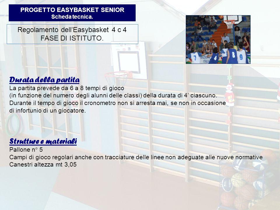PROGETTO EASYBASKET SENIOR Scheda tecnica.Regolamento dellEasybasket 4 c 4 FASE DI ISTITUTO.