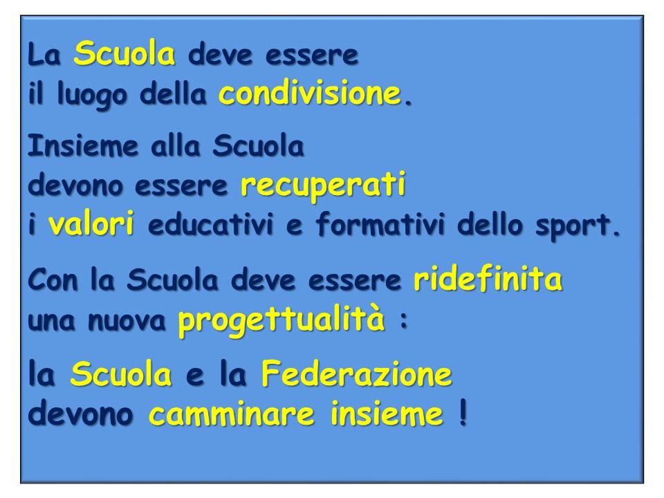 La Scuola deve essere il luogo della condivisione. Insieme alla Scuola devono essere recuperati i valori educativi e formativi dello sport. Con la Scu