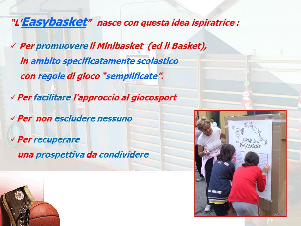 L Easybasket nasce con questa idea ispiratrice : Per promuovere il Minibasket (ed il Basket), in ambito specificatamente scolastico con regole di gioc