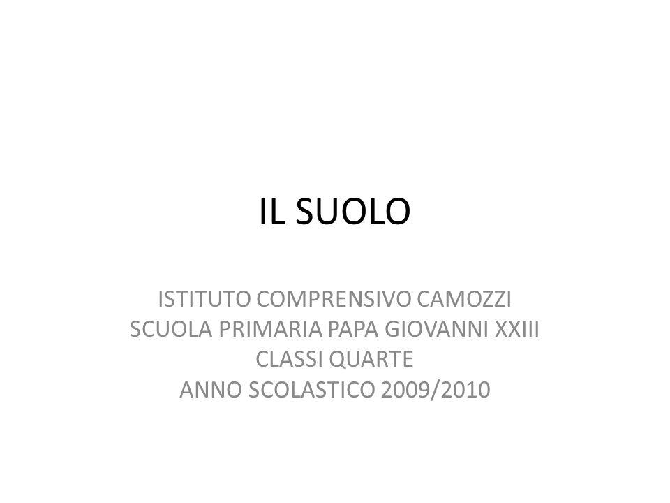 IL SUOLO ISTITUTO COMPRENSIVO CAMOZZI SCUOLA PRIMARIA PAPA GIOVANNI XXIII CLASSI QUARTE ANNO SCOLASTICO 2009/2010