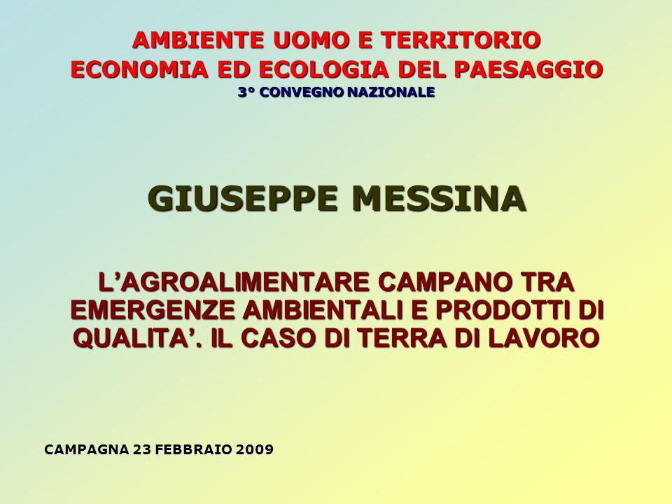 GIUSEPPE MESSINA Dimensione media, disponibilità di terra e occupazione nelle imprese agricole e nellindustria alimentare (2005) Area geografica Dimensione media SAU/occupati Occupati agri/imprese Occupati Ind.