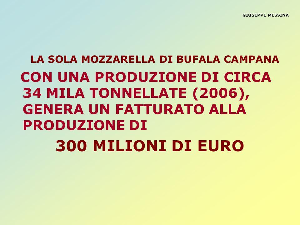GIUSEPPE MESSINA LA SOLA MOZZARELLA DI BUFALA CAMPANA CON UNA PRODUZIONE DI CIRCA 34 MILA TONNELLATE (2006), GENERA UN FATTURATO ALLA PRODUZIONE DI 30
