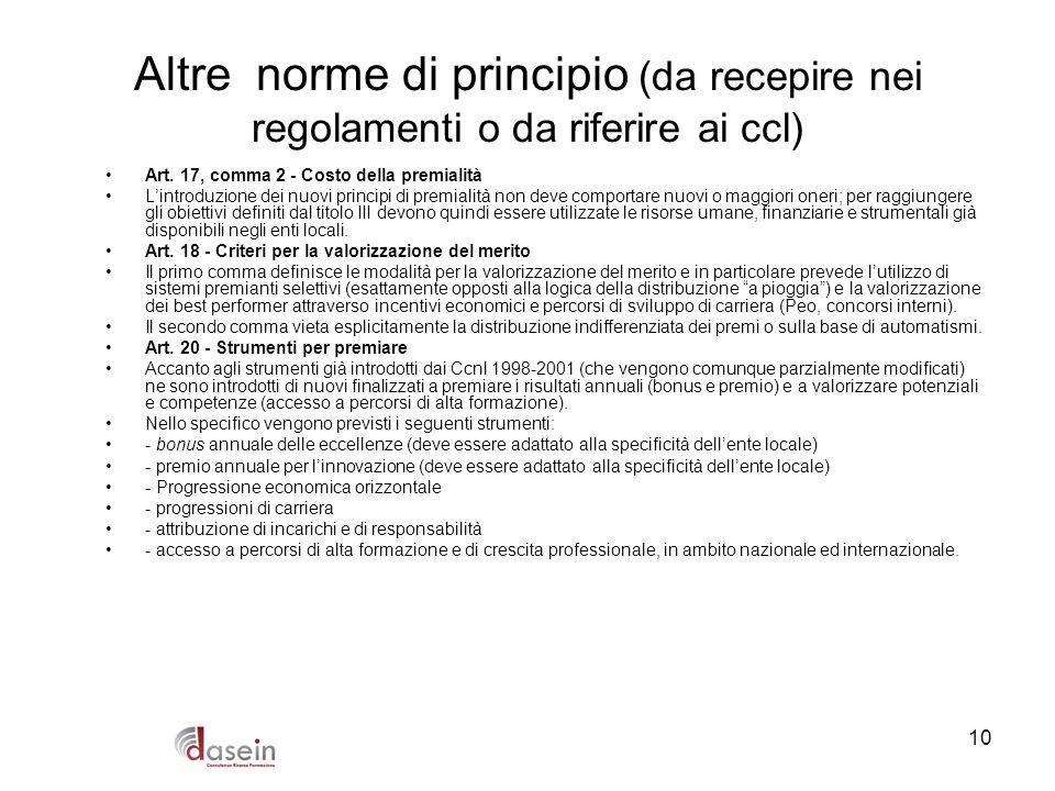 10 Altre norme di principio (da recepire nei regolamenti o da riferire ai ccl) Art. 17, comma 2 - Costo della premialità Lintroduzione dei nuovi princ