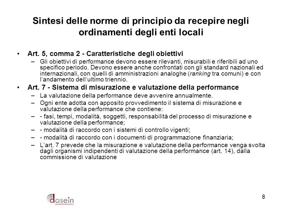 8 Sintesi delle norme di principio da recepire negli ordinamenti degli enti locali Art. 5, comma 2 - Caratteristiche degli obiettivi –Gli obiettivi di