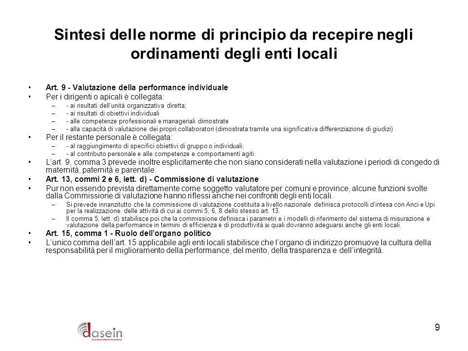 9 Sintesi delle norme di principio da recepire negli ordinamenti degli enti locali Art. 9 - Valutazione della performance individuale Per i dirigenti