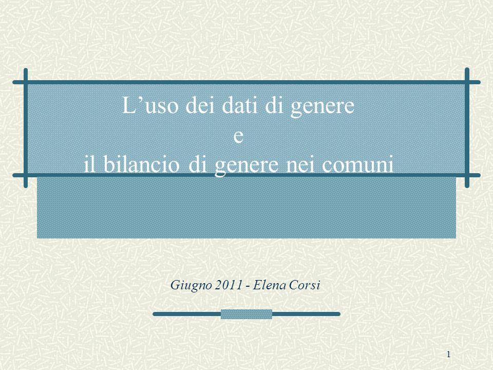 1 Luso dei dati di genere e il bilancio di genere nei comuni Giugno 2011 - Elena Corsi