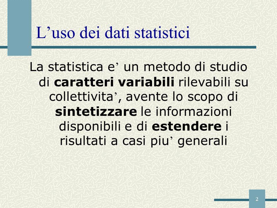 2 Luso dei dati statistici La statistica e un metodo di studio di caratteri variabili rilevabili su collettivita, avente lo scopo di sintetizzare le i