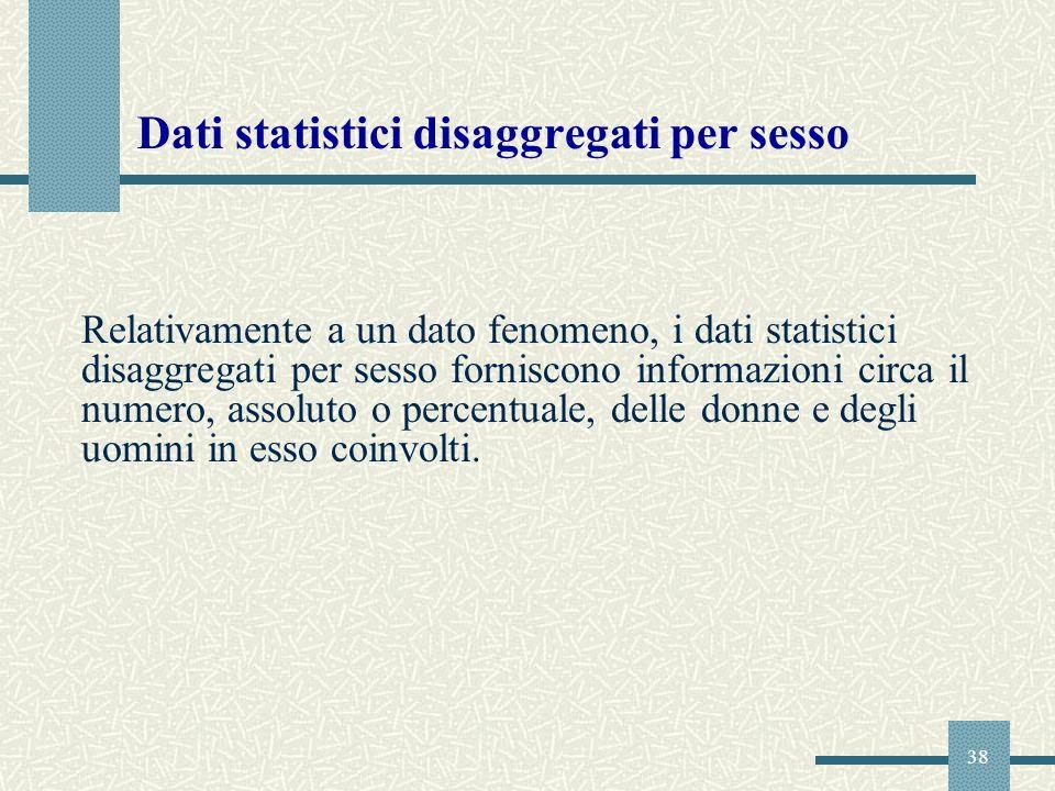 38 Dati statistici disaggregati per sesso Relativamente a un dato fenomeno, i dati statistici disaggregati per sesso forniscono informazioni circa il