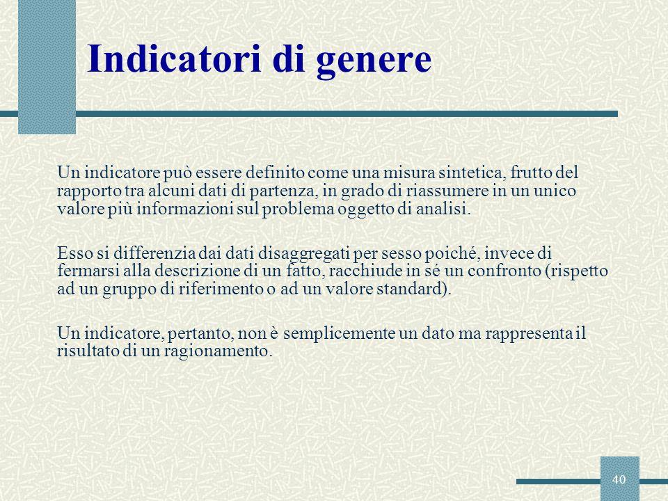 40 Indicatori di genere Un indicatore può essere definito come una misura sintetica, frutto del rapporto tra alcuni dati di partenza, in grado di rias