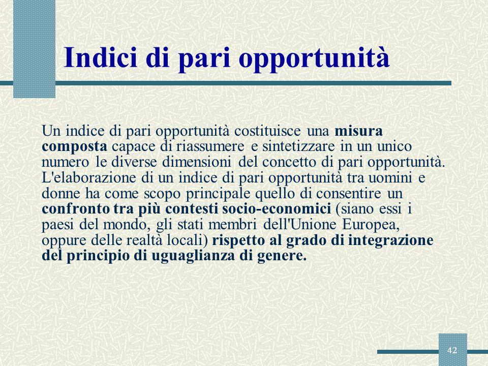 42 Indici di pari opportunità Un indice di pari opportunità costituisce una misura composta capace di riassumere e sintetizzare in un unico numero le