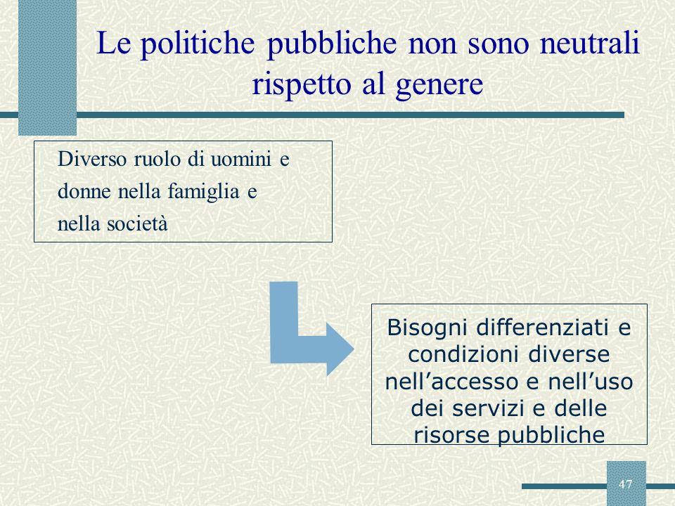 47 Le politiche pubbliche non sono neutrali rispetto al genere Diverso ruolo di uomini e donne nella famiglia e nella società Bisogni differenziati e