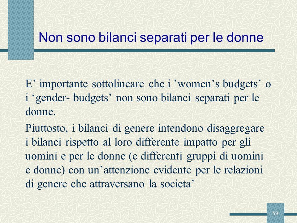 59 Non sono bilanci separati per le donne E importante sottolineare che i womens budgets o i gender- budgets non sono bilanci separati per le donne. P