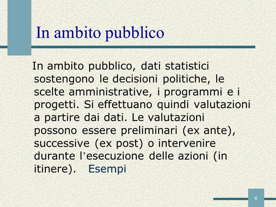 6 In ambito pubblico In ambito pubblico, dati statistici sostengono le decisioni politiche, le scelte amministrative, i programmi e i progetti. Si eff
