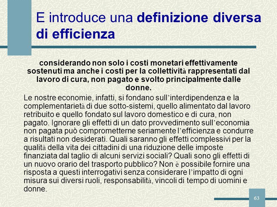 63 E introduce una definizione diversa di efficienza considerando non solo i costi monetari effettivamente sostenuti ma anche i costi per la collettiv