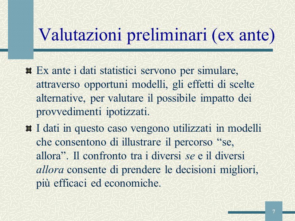 7 Valutazioni preliminari (ex ante) Ex ante i dati statistici servono per simulare, attraverso opportuni modelli, gli effetti di scelte alternative, p