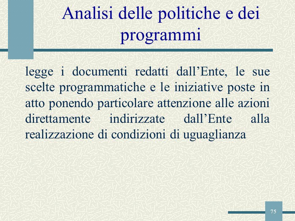 75 Analisi delle politiche e dei programmi legge i documenti redatti dallEnte, le sue scelte programmatiche e le iniziative poste in atto ponendo part