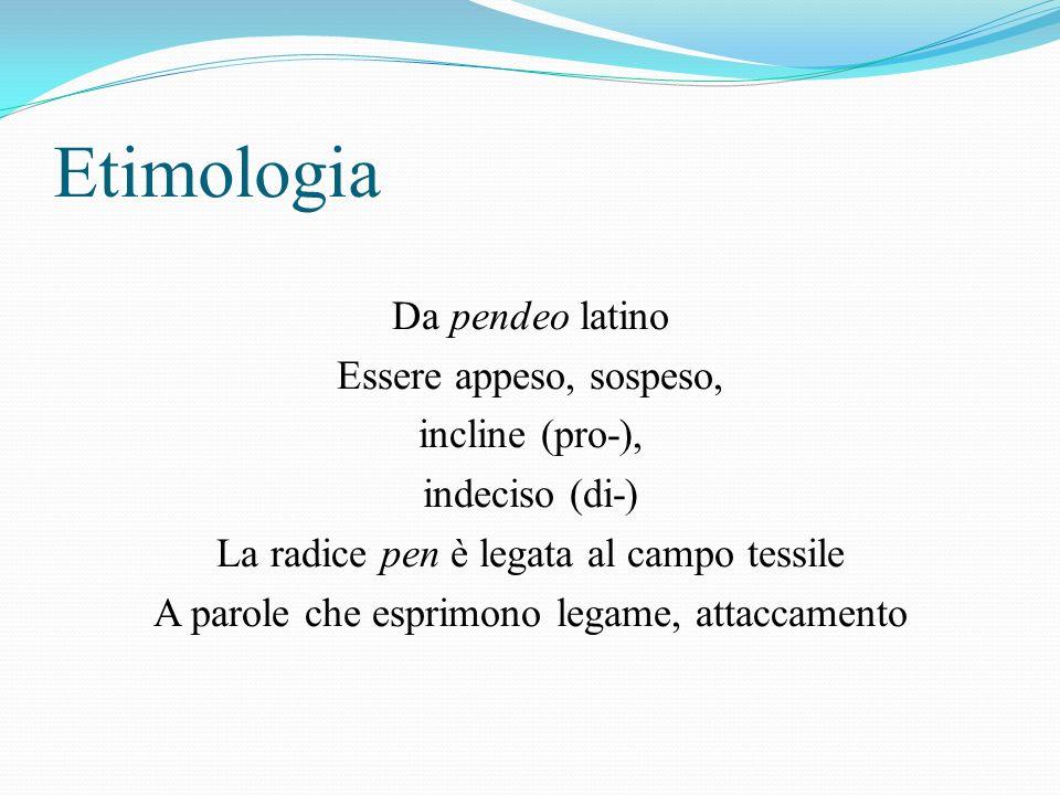 Etimologia Da pendeo latino Essere appeso, sospeso, incline (pro-), indeciso (di-) La radice pen è legata al campo tessile A parole che esprimono legame, attaccamento