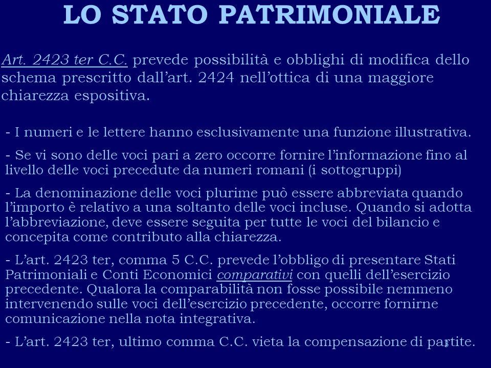 4 LO STATO PATRIMONIALE: CARATTERISTICHE E CONTENUTO Esposizione delle voci per valori netti ( Criterio che rende comparabili i bilanci italiani con quelli dellUnione Europea).