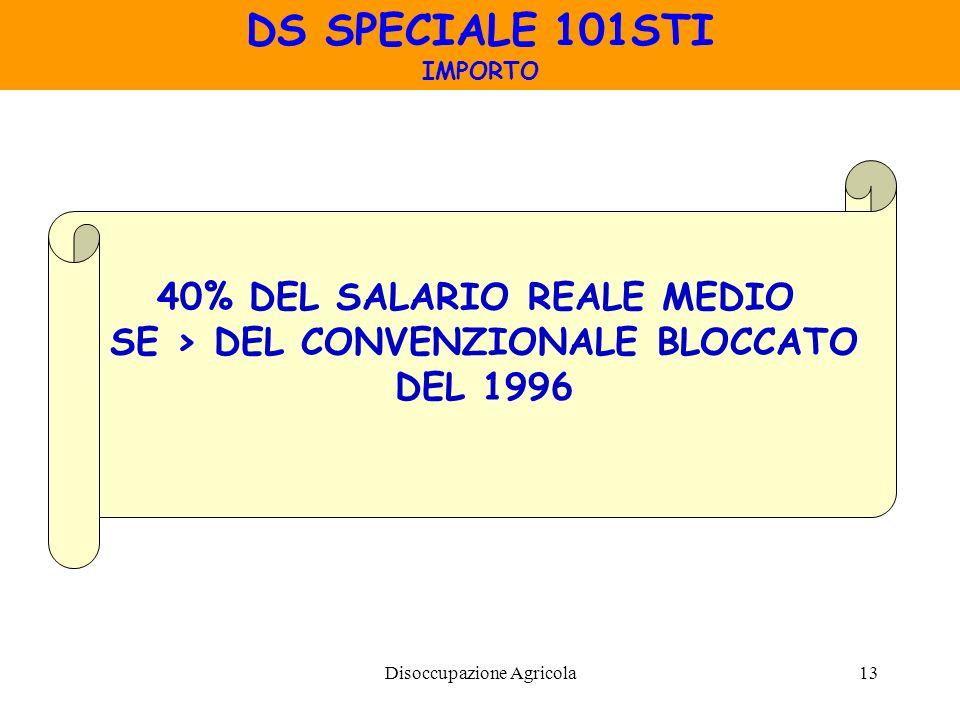 Disoccupazione Agricola13 DS SPECIALE 101STI IMPORTO 40% DEL SALARIO REALE MEDIO SE > DEL CONVENZIONALE BLOCCATO DEL 1996