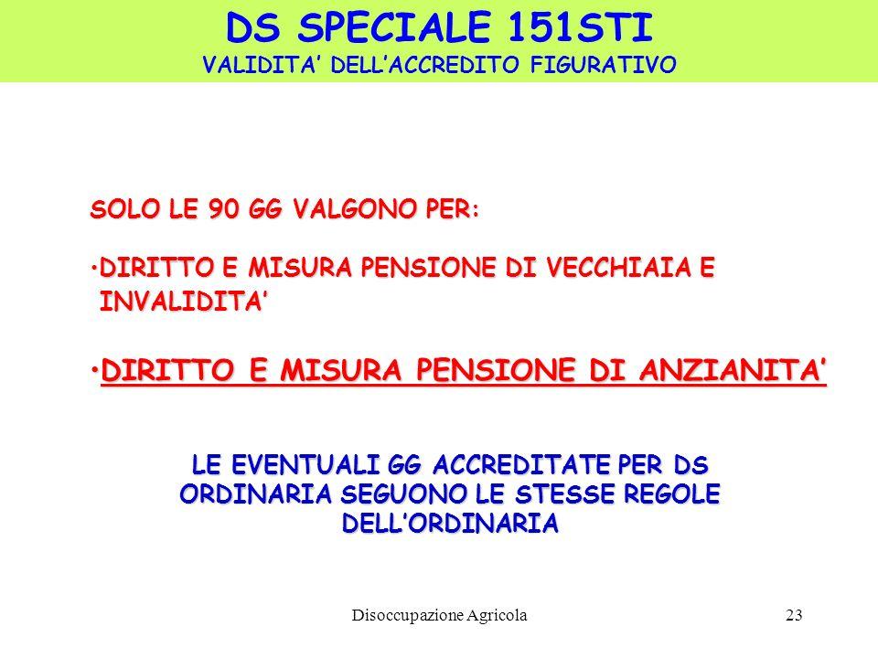 Disoccupazione Agricola23 DS SPECIALE 151STI VALIDITA DELLACCREDITO FIGURATIVO SOLO LE 90 GG VALGONO PER: DIRITTO E MISURA PENSIONE DI VECCHIAIA EDIRI