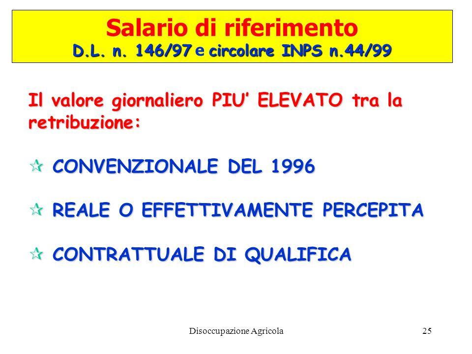 Disoccupazione Agricola25 Salario di riferimento D.L. n. 146/97circolare INPS n.44/99 D.L. n. 146/97 e circolare INPS n.44/99 Il valore giornaliero PI