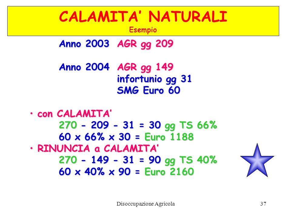 Disoccupazione Agricola37 Anno 2003 AGR gg 209 Anno 2004AGR gg 149 infortunio gg 31 SMG Euro 60 con CALAMITA 270 270 - 209 - 31 = 30 gg TS 66% 60 x 66