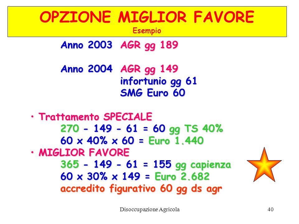 Disoccupazione Agricola40 Anno 2003 AGR gg 189 Anno 2004AGR gg 149 infortunio gg 61 SMG Euro 60 Trattamento SPECIALE 270 270 - 149 - 61 = 60 gg TS 40%