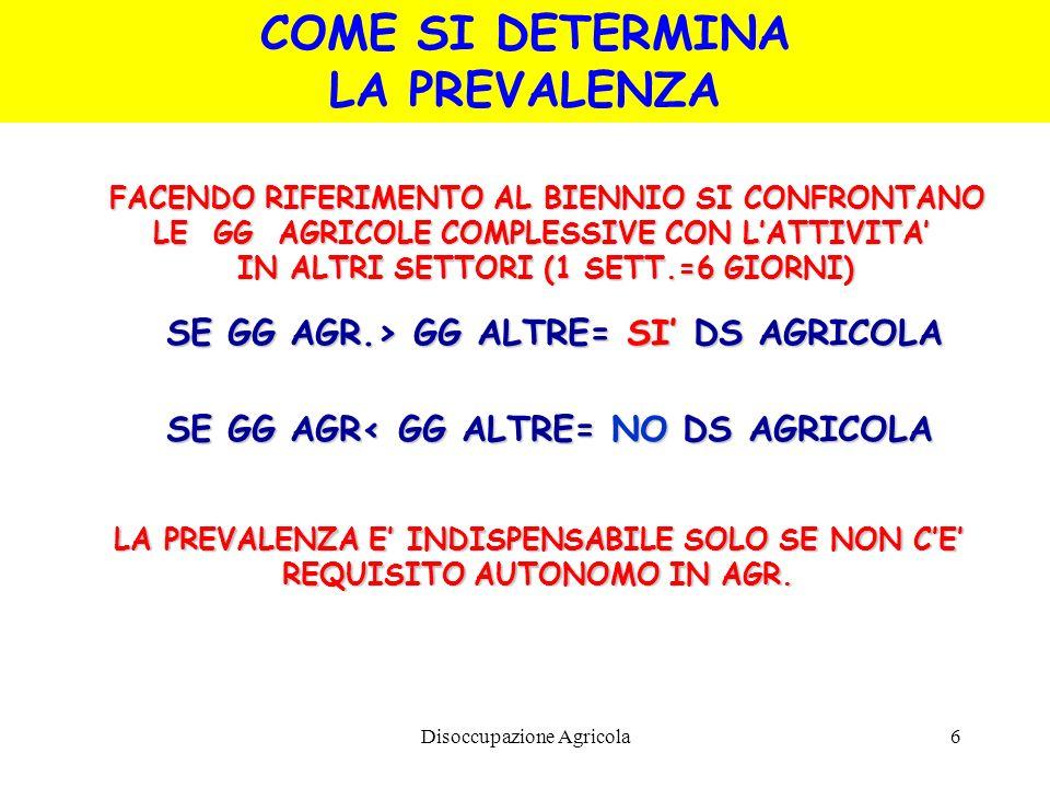 Disoccupazione Agricola6 FACENDO RIFERIMENTO AL BIENNIO SI CONFRONTANO LE GG AGRICOLE COMPLESSIVE CON LATTIVITA IN ALTRI SETTORI (1 SETT.=6 GIORNI) SE
