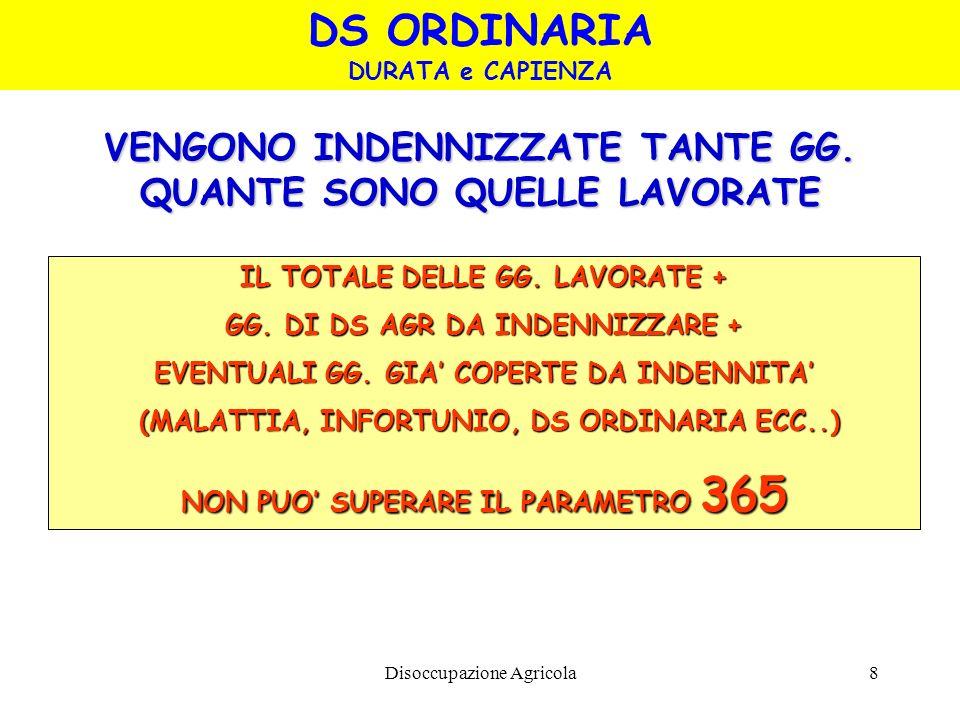 Disoccupazione Agricola8 VENGONO INDENNIZZATE TANTE GG. QUANTE SONO QUELLE LAVORATE IL TOTALE DELLE GG. LAVORATE + GG. DI DS AGR DA INDENNIZZARE + EVE