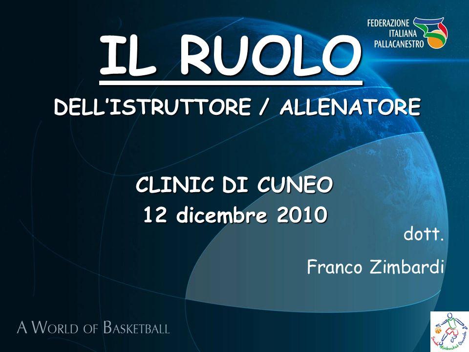 IL RUOLO CLINIC DI CUNEO 12 dicembre 2010 dott. Franco Zimbardi DELLISTRUTTORE / ALLENATORE