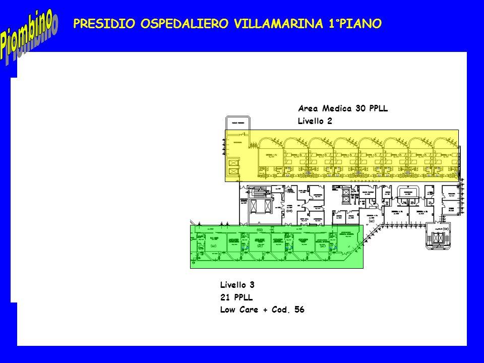PRESIDIO OSPEDALIERO VILLAMARINA 1°PIANO Area Medica 30 PPLL Livello 2 Livello 3 21 PPLL Low Care + Cod. 56