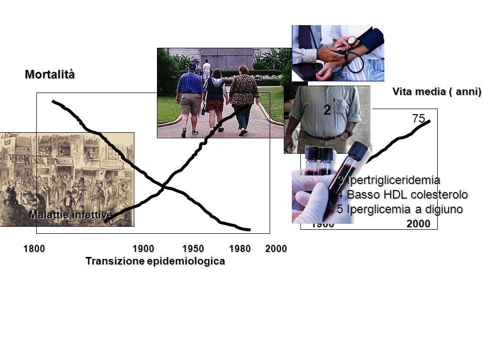 Malattie infettive Mortalità 1800 1900 1950 1980 2000 Transizione epidemiologica 50 75 Vita media ( anni) 1900 2000 3 Ipertrigliceridemia 4 Basso HDL