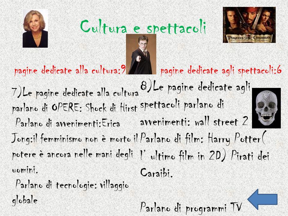 Cultura e spettacoli pagine dedicate alla cultura:9pagine dedicate agli spettacoli:6 7)Le pagine dedicate alla cultura parlano di OPERE: Shock di Hirs