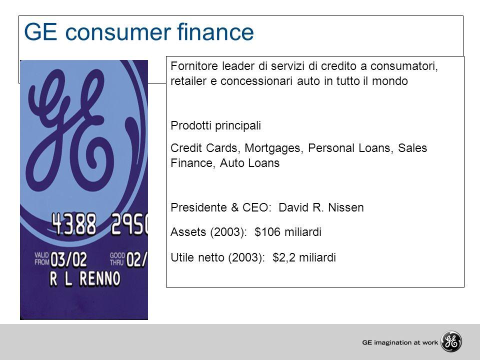 GE consumer finance Fornitore leader di servizi di credito a consumatori, retailer e concessionari auto in tutto il mondo Prodotti principali Credit C