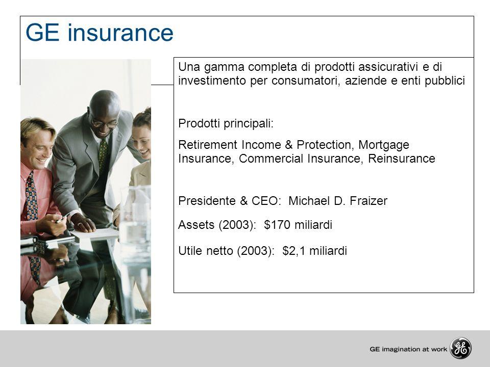 GE insurance Una gamma completa di prodotti assicurativi e di investimento per consumatori, aziende e enti pubblici Prodotti principali: Retirement In