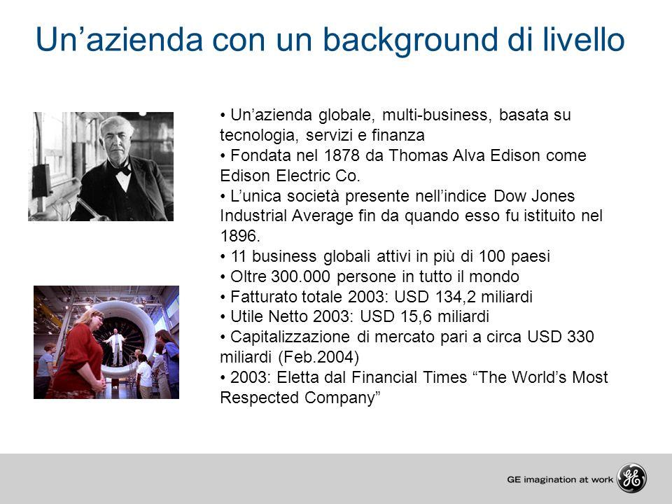 Unazienda globale, multi-business, basata su tecnologia, servizi e finanza Fondata nel 1878 da Thomas Alva Edison come Edison Electric Co. Lunica soci