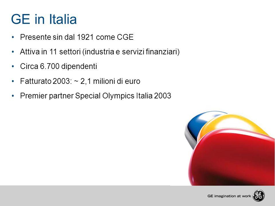GE in Italia Presente sin dal 1921 come CGE Attiva in 11 settori (industria e servizi finanziari) Circa 6.700 dipendenti Fatturato 2003: ~ 2,1 milioni