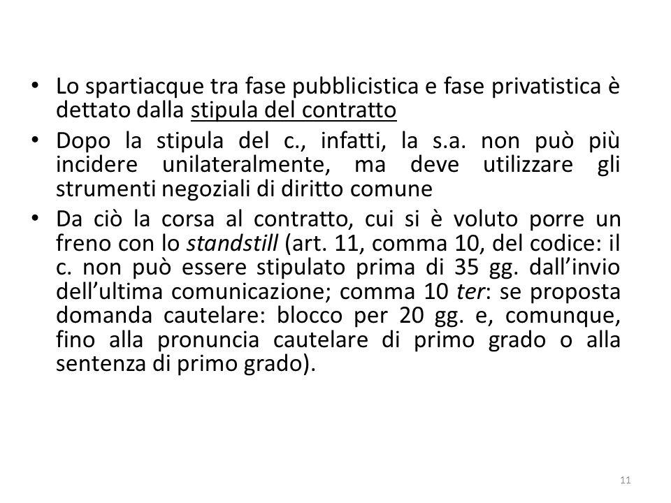 Lo spartiacque tra fase pubblicistica e fase privatistica è dettato dalla stipula del contratto Dopo la stipula del c., infatti, la s.a. non può più i