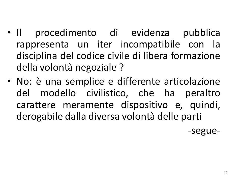 Il procedimento di evidenza pubblica rappresenta un iter incompatibile con la disciplina del codice civile di libera formazione della volontà negozial