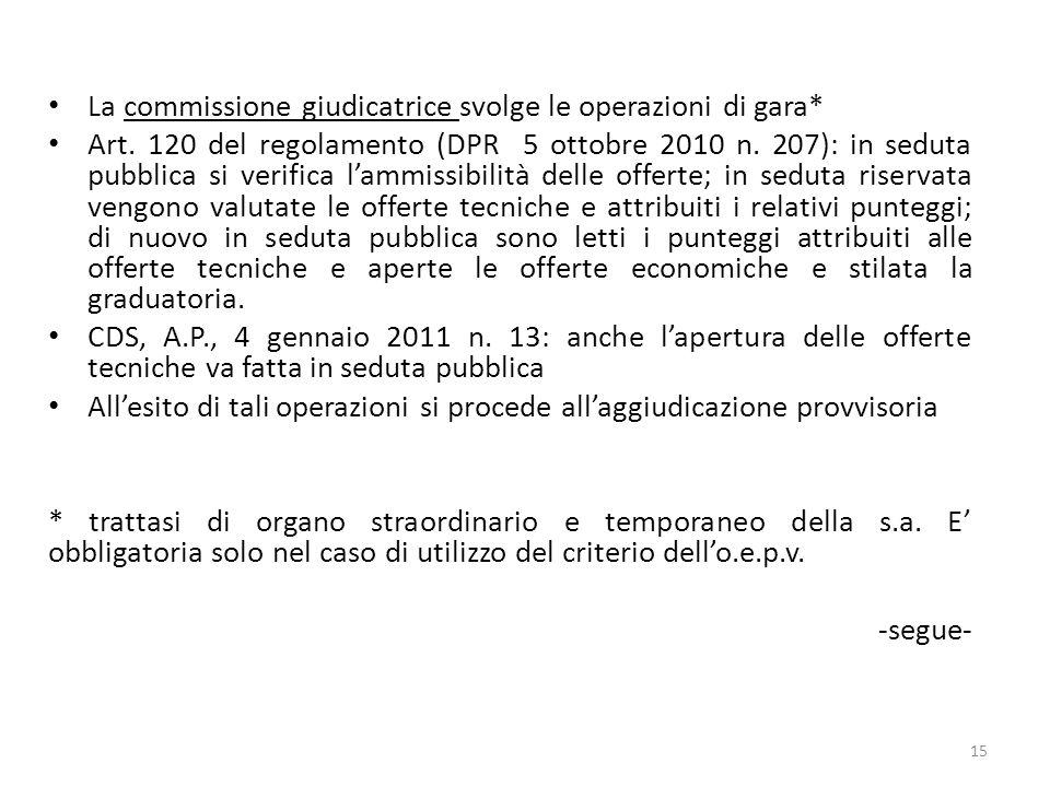 La commissione giudicatrice svolge le operazioni di gara* Art. 120 del regolamento (DPR 5 ottobre 2010 n. 207): in seduta pubblica si verifica lammiss