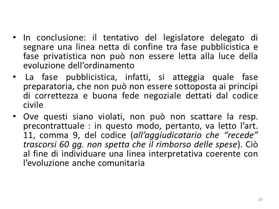 In conclusione: il tentativo del legislatore delegato di segnare una linea netta di confine tra fase pubblicistica e fase privatistica non può non ess