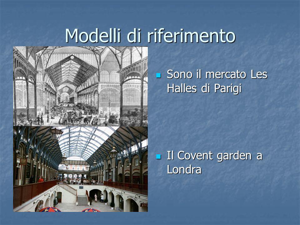 Modelli di riferimento Sono il mercato Les Halles di Parigi Sono il mercato Les Halles di Parigi Il Covent garden a Londra Il Covent garden a Londra