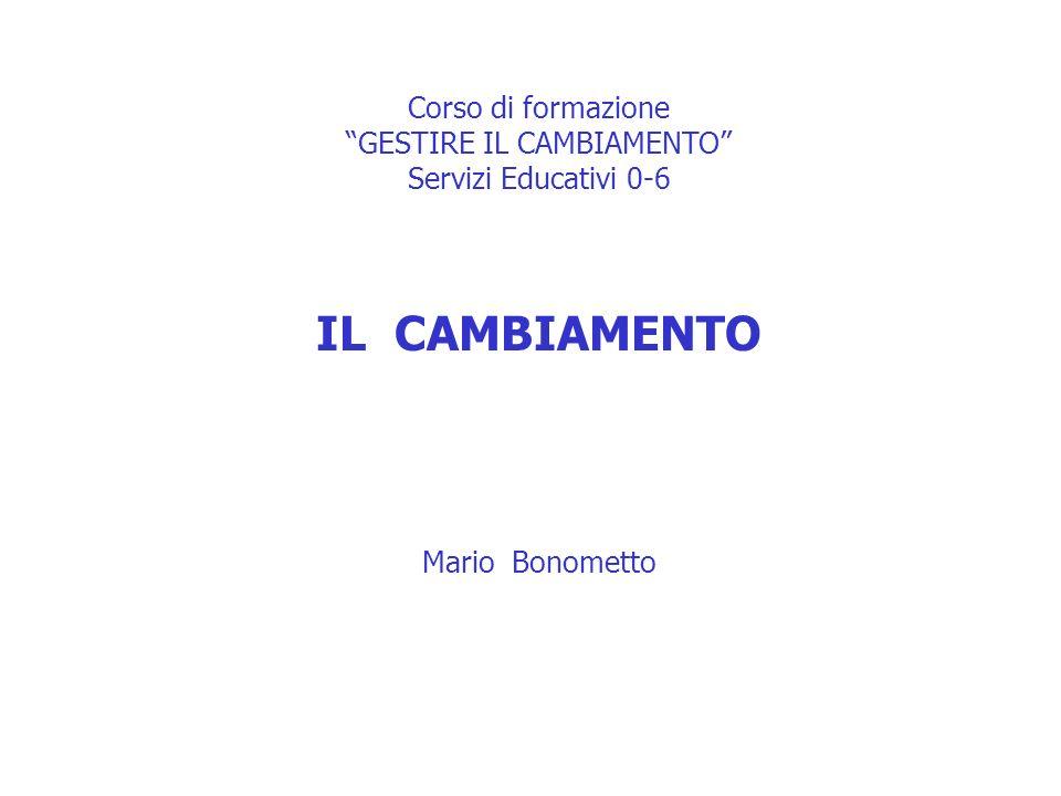 Corso di formazione GESTIRE IL CAMBIAMENTO Servizi Educativi 0-6 IL CAMBIAMENTO Mario Bonometto