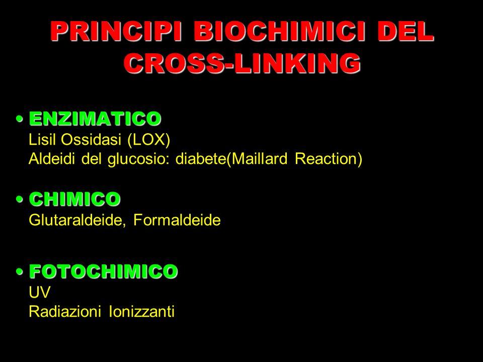 PRINCIPI BIOCHIMICI DEL CROSS-LINKING ENZIMATICOENZIMATICO Lisil Ossidasi (LOX) Aldeidi del glucosio: diabete(Maillard Reaction) CHIMICOCHIMICO Glutar