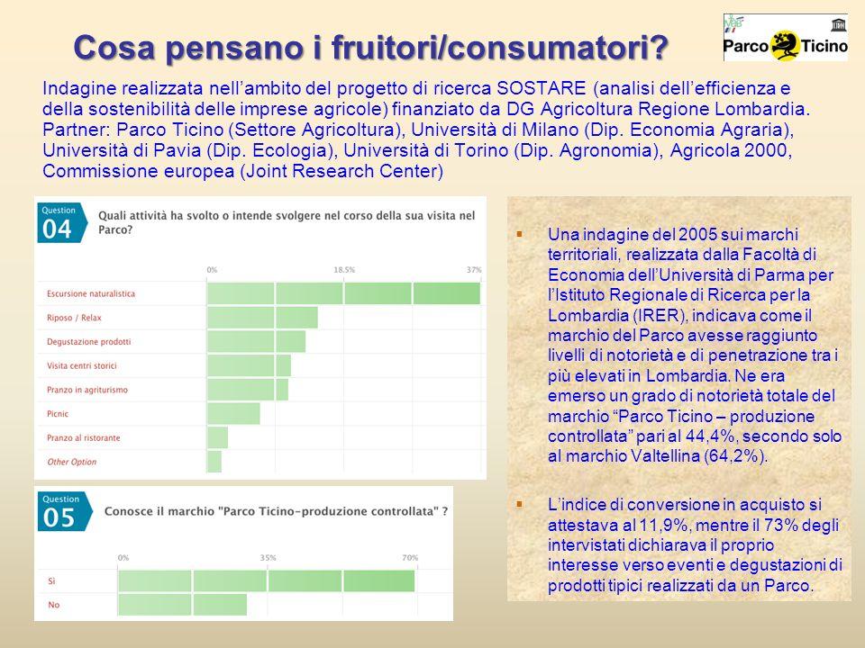 Cosa pensano i fruitori/consumatori? Indagine realizzata nellambito del progetto di ricerca SOSTARE (analisi dellefficienza e della sostenibilità dell