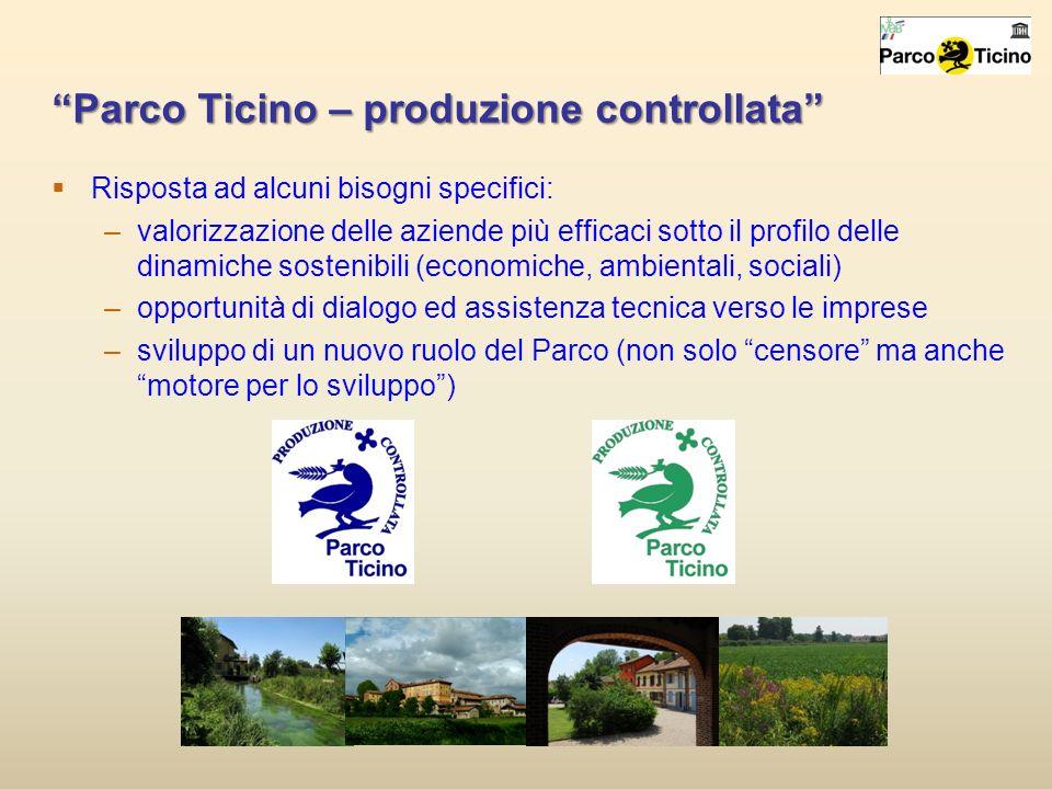 Parco Ticino – produzione controllata Risposta ad alcuni bisogni specifici: –valorizzazione delle aziende più efficaci sotto il profilo delle dinamich