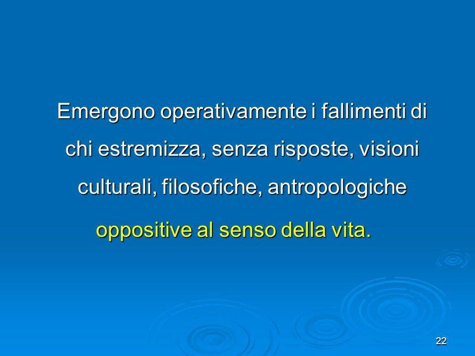 22 Emergono operativamente i fallimenti di chi estremizza, senza risposte, visioni culturali, filosofiche, antropologiche Emergono operativamente i fa